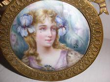 EXQUISITE ANTIQUE PORCELAIN ART NOUVEAU BEAUTY WOMAN LADY PORTRAIT MINIATURE M.R