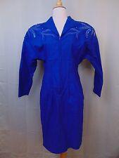 Neiman Marcus Vintage 80s Embellished Beaded Jumpsuit Dress Blue Size 8 Cotton