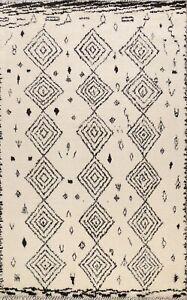Nomad Ivory Geometric Moroccan Berber Oriental Area Rug Plush Wool Handmade 8x10