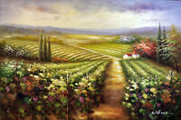 Italian Farm Vineyard Valley Rolling Hills Classic 24X36 Oil Painting STRETCHED