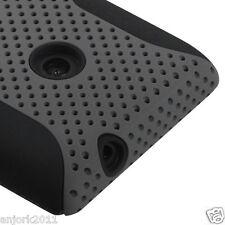 NOKIA LUMIA 520 AT&T CRICKET HYBRID MESH CASE SKIN COVER GREY BLACK