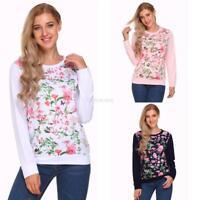Women Long Sleeve Floral Sweatshirt Pullover Loose Leisure Tops GFEQ