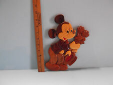 """Mickey Mouse Holding Bouquet of Flowers 9.5""""in Wood Wall Plaque Super Cute!"""
