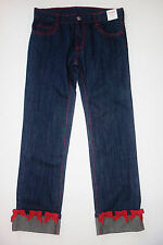 Gymboree Girl 10 Plus Denim Jeans Red Ribbon Cuffs New ab1