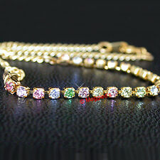 """ALL SIZES 9-14"""" Pastel RAINBOW Austrian CRYSTAL 10"""" 14K GL Foot CHAIN Anklet"""