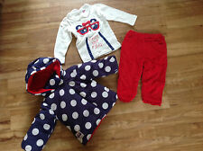 LILY & JACK BABY GIRLS 3 PIECE SET COAT,PANTS,TOP BLUE/RED SIZE 12-18 MONTHS