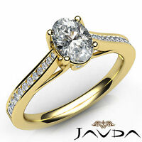 Bezel Channel Set Oval Diamond Engagement Ring GIA F SI1 18k Yellow Gold 1.02Ct