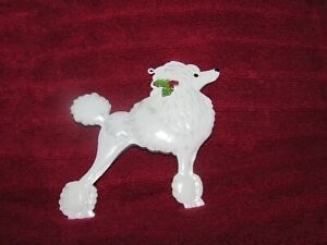 """WHITE STANDARD POODLE w/ HOLLY 4"""" metal Christmas Ornament"""