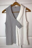 Stitch Fix 41 Hawthorn Womens Gray White Sleeveless Asymmetric Blouse Size S