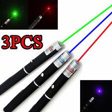 3 Pack 500Miles Red+Green+Blue Violet Lazer Beam Light Laser Pointer Pen Set USA
