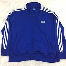 Men's Adidas Track Zip Up Jacket Size 2XL Blue EUC MC3