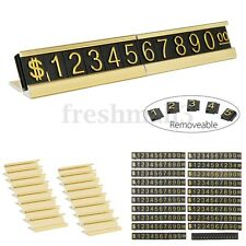Golden Base Adjustable Number Letter Price Display Counter Stand Tag Label Set