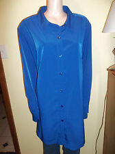 BRYLANE WOMAN PLUS SIZE LONG SLEEVE BLUE BIG SHIRT 28W CAREER NEW