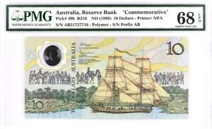 PMG 68 Australia 1988 Polymer Immigration 200t Commemorative Banknote 10 Dollars