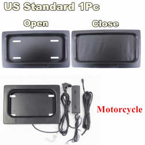 Motorcycle Electric License Plate Frame Shutter Cover Up Swap Shift Turn Blinds