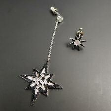 Asymmetrical Black & Clear CZ Starburst Star Long Drop & Stud Earrings Chic