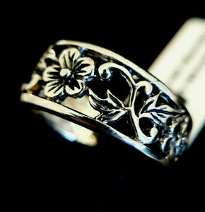 Ladies Oxidised 925 Sterling Solid Silver Openwork Floral Flower Band Ring SizeO