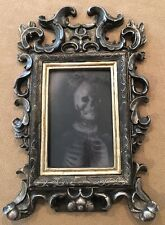 "Halloween Prop Framed Lenticular Women/Skeleton 8x12""H Pewter-Tone"