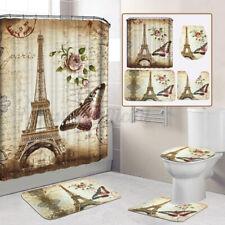 Us Paris Eiffel Tower Shower Curtain Pedestal Bath Mat Rug Lid Toilet Rug