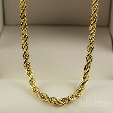 "High Quality 18ct Yellow Gold Plt 316L Twist Rope 24"" Necklace Chain UK -26"