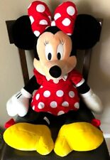 "Disney Store Minnie Mouse Stuffed Plush Large 32"" Red White Polka Dot Dress Bow"