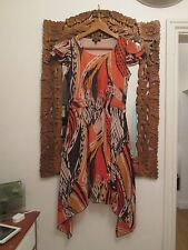 Brightly coloured Dress Size 8 Orange Aztec Quirky STAND OUT! BOHO CHIC