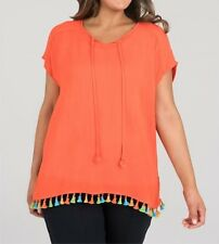 Bright Orange Fiesta Short Sleeve Tunic / Top 100 Viscose Size 18