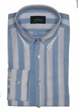 The Wardrobe Casual Shirt: Large White and blue wide stripe, button down collar,