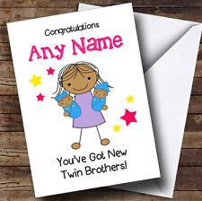 Asiatico sorella NEW BABY TWIN FRATELLI Ragazzi Personalizzato Sibling Saluti CARD
