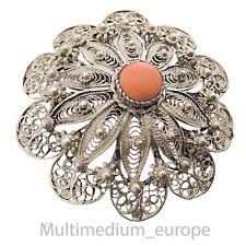 Filigrane vintage Koralle Silber Brosche Anhänger Blume Blüte Handarbeit Tracht