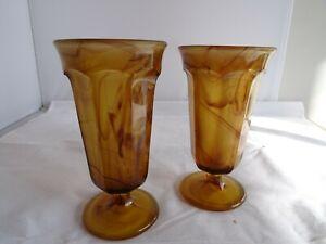 Pair of Vintage Davidson Cloud Brown Glass Bouquet Vases 8 cm diameter