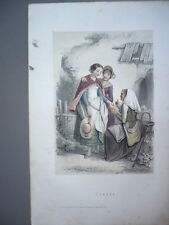 GRAVURE 1880  ECOSSE  COSTUME LITHOGRAPHIE COULEURS