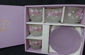 Japanese Cold cup & Plate Set 5 Sakura Dish Yunomi purple From Japan **B143