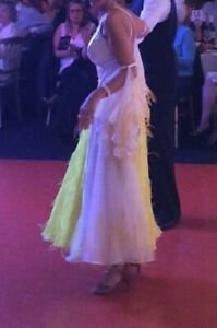 Long Ladies Ballgown Ballroom Dress White & Yellow Fits 8 (36) Fitted Leotard