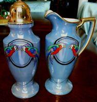 Noritake Blue Lusterware Deco Sugar Shaker Cream Pitcher LOVE BIRDS