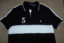 NWT Polo Ralph Lauren BLACK/WHITE Stripe Mesh Knit Shirt Men's XL Pony SO SHARP