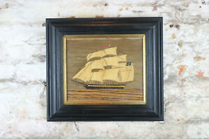 HMS Shannon Naive Antique Marquetry Folk Art Painting