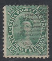 "Canada Scott #18  12 1/2 cent Queen Victoria yellow green ""First Cents""  F  *"