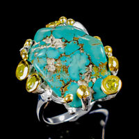 Turquoise Ring Silver 925 Sterling Vintage Size 8 /R128448