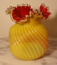 Victorian Bohemian Art Glass Vase Opaque Yellow Swirl Rib Optic Ruby Lined