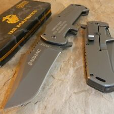 USMC MARINES Warlord GREY Titanium Folding Blade Rescue Pocket Knife NEW