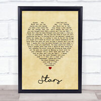 Simply Red Stars Vintage Heart Song Lyric Quote Print
