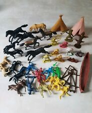Vintage Lot Of Plastic Cowboys, Indians, Horses, Tepee + 35 pc lot