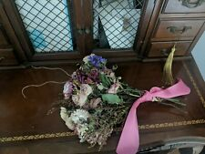 Dried Flower Bouquet, Roses,strawflowers,static e, calcynia,willow dried bouquet