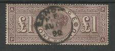 SG185  THE 1884  VICTORIAN £1 BROWN-LILAC (PA)   FINE USED  CAT £2800