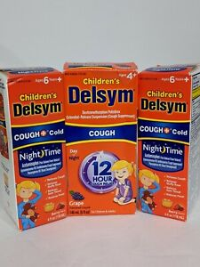 (3) Delsym Children's Cough and Cold Medicine Night Time Daytime Grape Berry