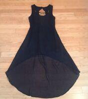 Women's LF Millau Black Sheer Sleeveless Cocktail Dress Gold Fleck S High Low