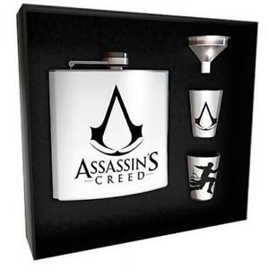 ASSASSIN'S Creed Flask IN Metal 170ML Gift Set With Two Shot Logo