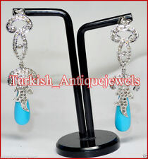 1.80ctw ROSE CUT DIAMOND & TURQUOISE VICTORIAN LOOK WEDDING EARRING DANGLER