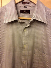 Vintage Van Heusen 417 Mid Century Mod Men's Brown & White Stripe Dress Shirt L
